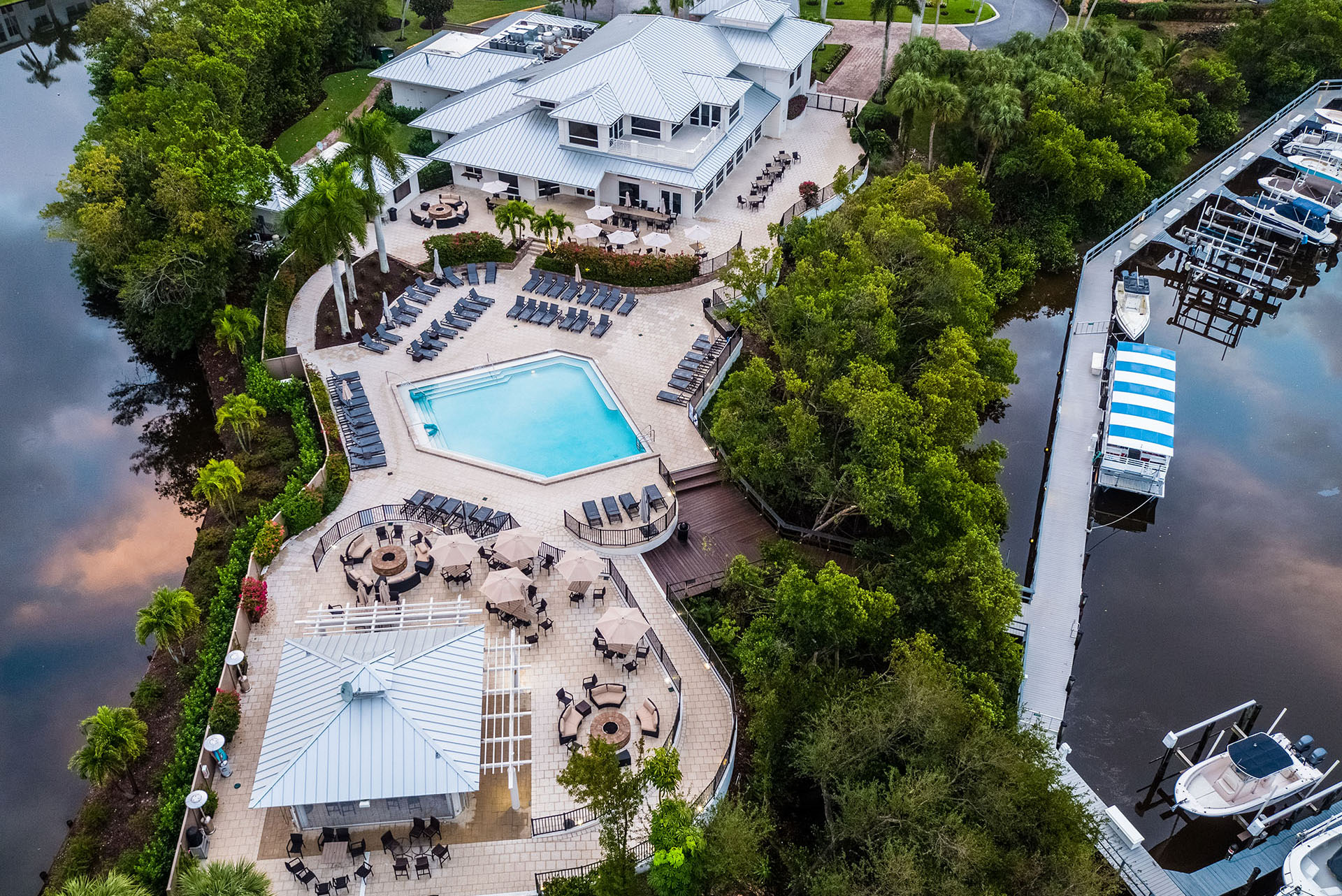Bird's eye view of the pool and waterfront at Tarpon Cove Yacht & Racquet Club